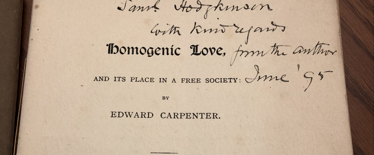 Inscribed title page of Homogenic Love by Edward Carpenter